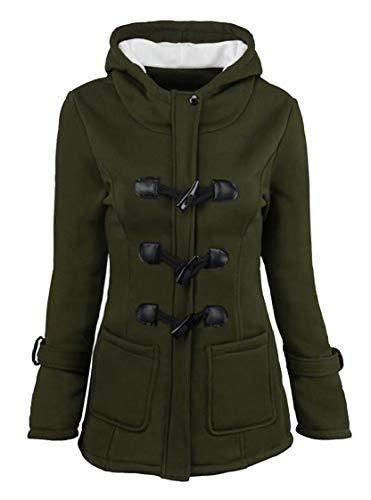 Hooded Jacket Green Women's Gocgt Outwear Winter Wool Warm Brend vACfwCqt