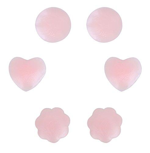 Petal Shaped (3 Pairs Reusable Adhesive Silicone Breast Petals- Round Shape, Petal Shape, Heart Shaped)