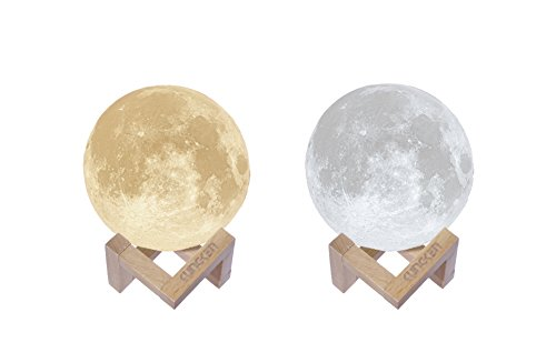 KUNGKEN Rechargeable 3D Printing Moon Lamp Touch Switch Luna Night Light Color And Brightness Adjustable With Wooden Mount (Wooden Nursery Lamp)