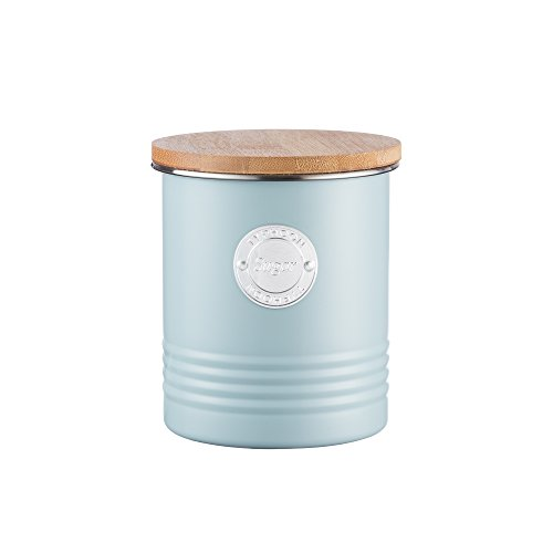 Typhoon Living Blue Sugar Canister, Airtight Bamboo Lid, Durable Carbon Steel Design with a Hard-wearing Matte Coating, 33-3/4-Fluid - Blue Canister Sugar