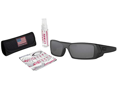 Oakley Gascan Sunglasses (Steel Frame / Prizm Black Polarized Lens) with USA Flag Lens Cleaning Kit (Sunglasses Polarized Cleaning)
