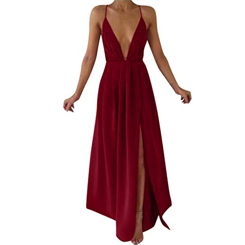 Spaghetti Strap Dresses for Women Party Wedding Sexy V-Neck Low-Breast Suspender Bohemian Dress Red