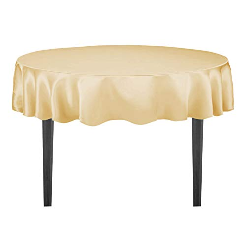 LinenTablecloth 90-Inch Satin Tablecloth, Round, Gold (Round Gold Tablecloth Elegance)