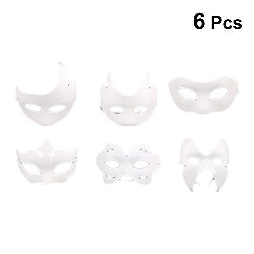 6PCS White Masks DIY Unpainted Masquerade Masks Plain Half Face Masks Kid's Drawing Materials ()