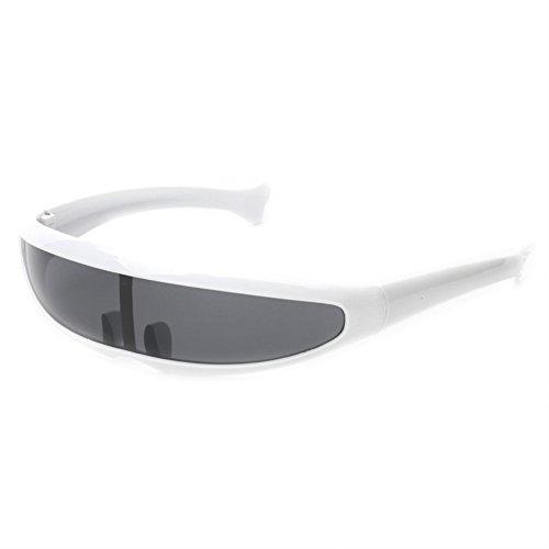 Futuristic Narrow Cyclops Sunglasses UV400 Personality Mirrored Lens Costume Eyewear Glasses Funny Party Mask Decoration (White, Black), Medium