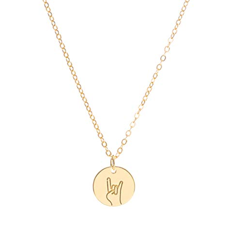 LOYATA Rock on Hand Gestures Pendant Necklace, 14K Gold Plated Simple Funny Personalized Cute Engraved Coin Pendant Necklace Women