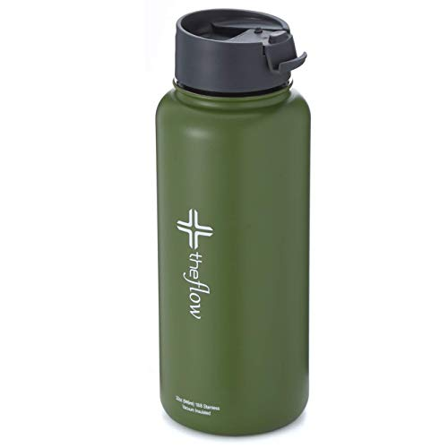 the flow insulated water bottle (Olive green, 32oz flip ()