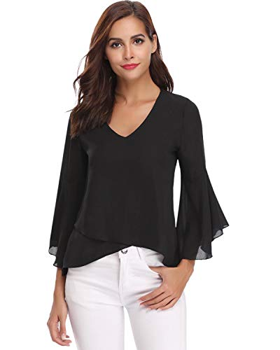 Hawiton Women V Neck 3/4 Bell Sleeve Chiffon Blouse Flowy Shirt Loose Top Shirts Black
