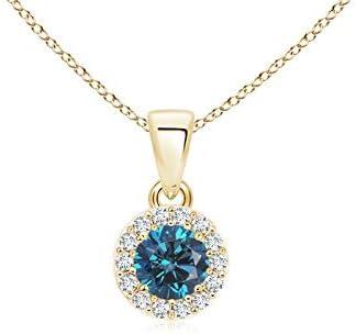 Weihnachten bieten – Rund Enhanced blau Diamant und Weiß Diamant Halo Dangling Anhänger