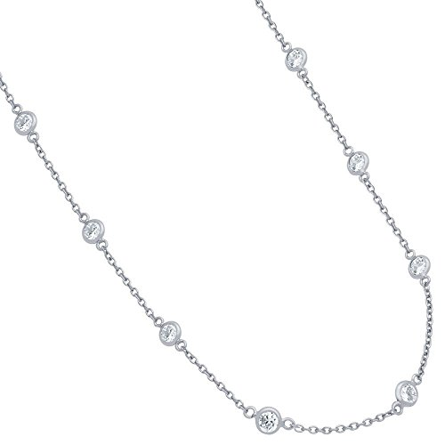CloseoutWarehouse Bezel Set Clear Cubic Zirconia By The Yard Necklace Rhodium Plated Sterling Silver Size 7.5