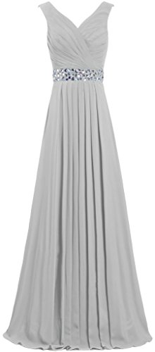 Tank Prom Dresses Women's Long Chiffon ANTS Gowns Evening 2017 Crystal Silver ROnFwqRE