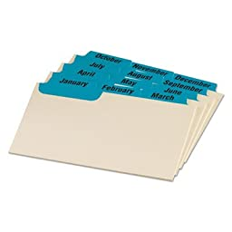 Laminated Index Card Guides, Monthly, 1/3 Tab, Manila, 3 x 5, 12/Set, Sold as 2 Set
