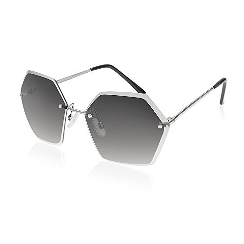 TWING Rimless Geometric Fashion Hexagon Shaped Ocean Lens Sunglasses with Hexagon Design (M10348-SMOKE + - Sunglasses Men Design For