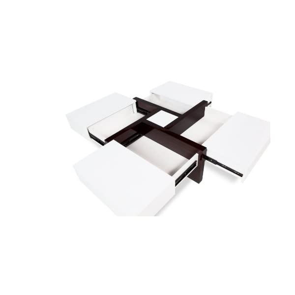 Pleasing Zuri Furniture Mcintosh High Gloss Coffee Table With Storage White Square Short Links Chair Design For Home Short Linksinfo