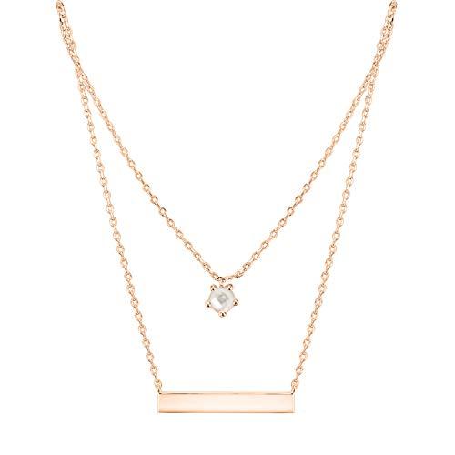 PAVOI 14K Rose Gold Plated Swarovski Crystal Birthstone Bar Necklace Pendant Engraveable June