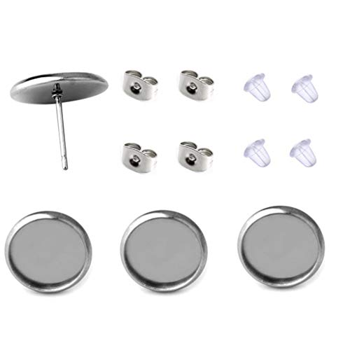 40 Pcs Stainless Steel Stud Earring Cabochon Setting Post Cup Fit for 8mm,80 Pcs Earring Backs (fit for 8mm)