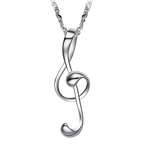 s Alloy Love Music Note Fashion Pendant Chain Necklace, 18
