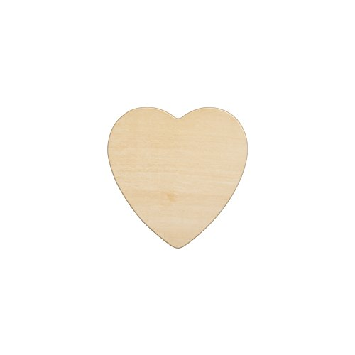 "Wooden Hearts 4-1/2 Inch, Unfinished Wooden Heart Cutout Shape, Wood Heart (4-1/2"" Tall x 1/8"" Thick) - Bag of 10 (Wooden Heart Cut Out)"