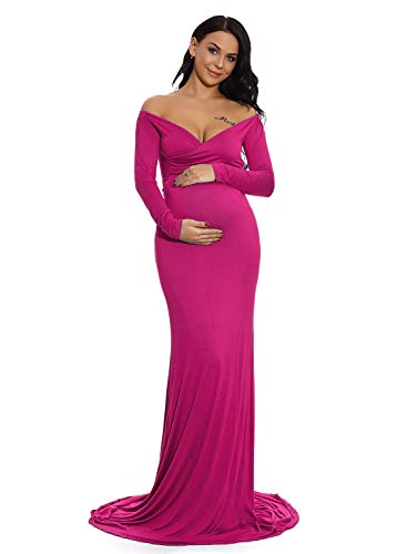 ZIUMUDY Maternity Fitted Gown V Neck Ruched Off Shoulder Long Sleeve Maxi Photography Dress (Medium, Magenta)