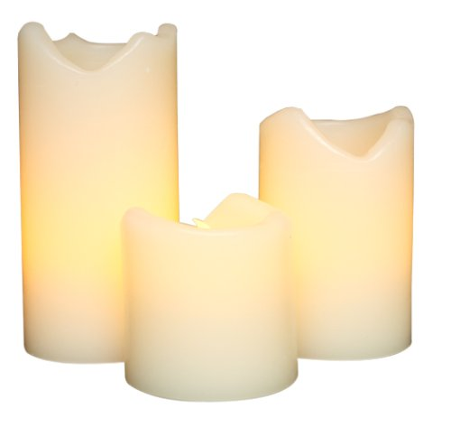 Everlasting Glow LED Ivory Wax Candles With Drip Effect, Set of 3, 2