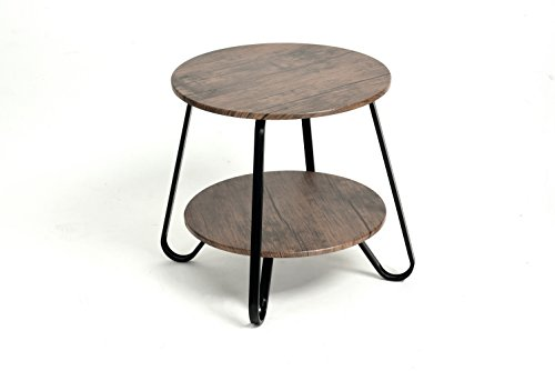 31YgD0zhJVL - Vintage Dark Brown / Black Frame 2-Tier Round Shelf Side End Table