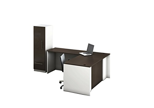 OfisLite 2416 Reception Center Desk Complete Group Including Fabulous Storage Cabinet Instantly Update Your Important Reception Area, Contemporary White/Espresso, 3 Piece by OfisLite