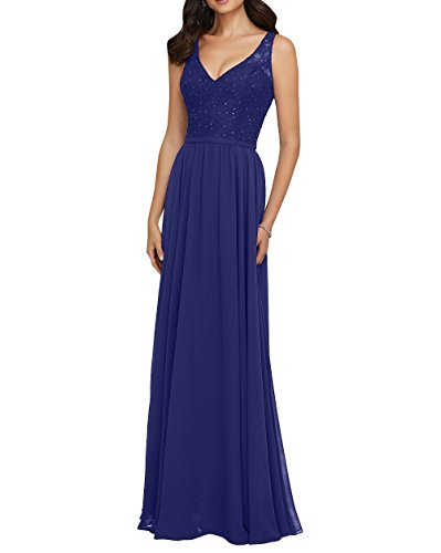 Damen Brautmutterkleider Partykleider V Promkleider Ausschnitt Royal Chiffon Charmant Abschlussballkleider Langes Blau Abendkleider q4dx6wn7B