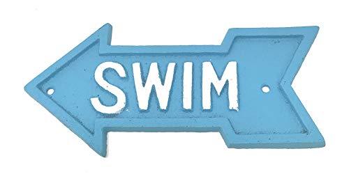 Iron Swim Arrow Wall Plaque, 7.5 Inches Long ()