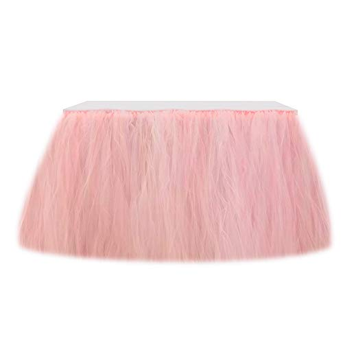Tulle Table Skirt Tutu Table Skirts Wedding Tablecloth Birthday Baby Shower Party Table Skirting Table Decorations for Round Or Rectangle Tables 9ft (Pink, 9ft (L) x 30inch (H)) -