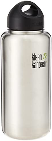 Klean Kanteen Wide Mouth Stainless Steel Water Bottle Single Wall with Leak Proof Stainless Steel Interior Cap