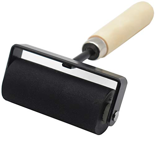 Rubber Roller, Ideal for Anti Skid Tape Construction Tools, Print, Ink and Stamping Tools (3-Inch, Black Roller/Wooden Handle)