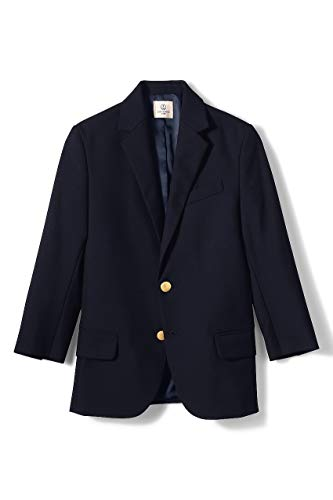 Lands' End School Uniform Boys Hopsack Blazer Deep Navy