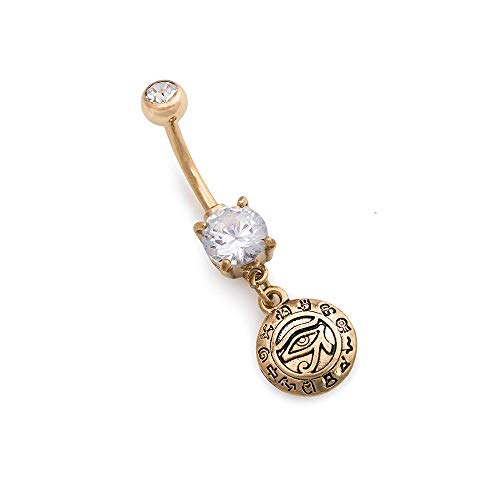 Painful Pleasures 14g Externally Threaded Stainless Steel Navel Jewelry with PVD Gold Coating - Prong-Set Crystal Jewel Bottom and Dangling Egyptian Eye of Horus Charm
