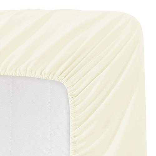 Luxe Bedding 100% Brushed Microfiber Solid Color Deep Pocket Fitted Sheet - Hotel Quality - Wrinkle, Fade, Stain and Abrasion Resistant (King, Ivory)