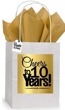 (10th Cheers Birthday/Anniversary White and Gold Themed Small Party Favor Gift Bags Tags -12pack)