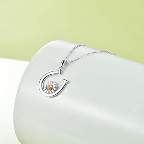 VONALA Sunflower Daisy Necklace S925 Sterling Silver Horseshoe Pendant Necklace Jewellery Gifts for Women