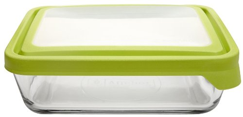 Anchor Hocking TrueSeal Rectangle Food Storage Container 11-Cup, Green Lid