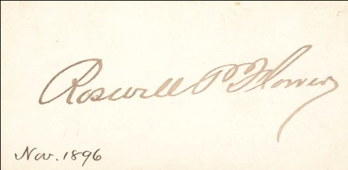 Mayor Roswell P. Flower - Calling Card Signed Circa (Flower Calling Card)