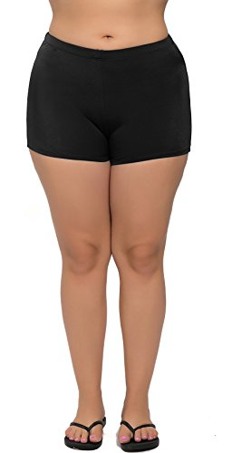 ATTRACO Womens Plus Size Solid Swim Bottom Swim Shorts Bathing Beach Bottom