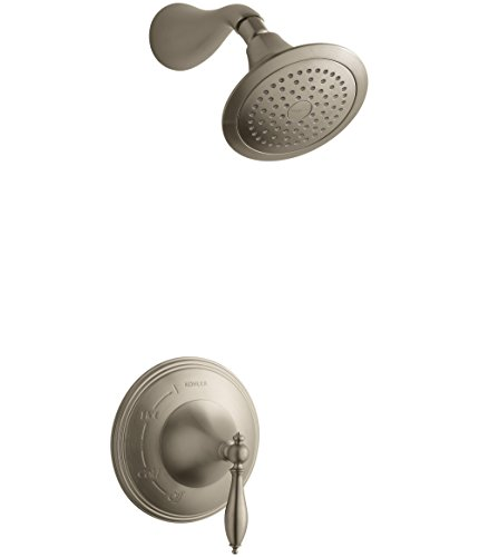 KOHLER TS313-4M-BV Finial(R) Traditional Rite-Temp(R) shower valve trim with lever handle and 2.5 gpm showerhead ()