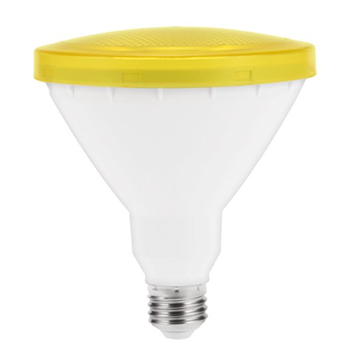 PAR38 Yellow Bug Light Bulb, JandCase LED Flood Light Bulb, 10W, Outdoor/Indoor Lighting for Front Porch, Yard, Patio, Holiday, E26 Medium Base, Not Dimmable