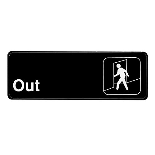Alpine Industries Out Sign - Indoor & Outdoor Black Plastic Placard w/White Text & Adhesive Back - Visible Plate for Hotel Restaurant & Office Entrance & ()