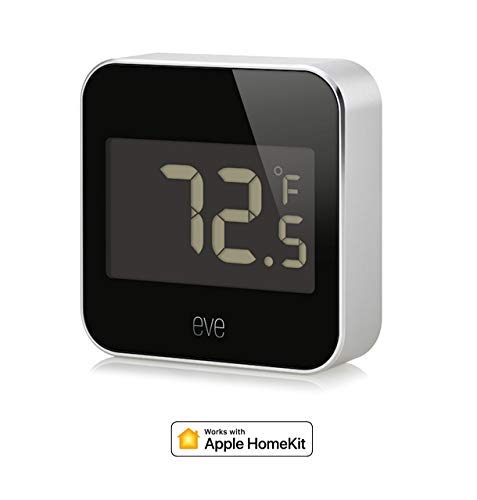 Eve Degree - Connected Weather Station for tracking temperature, humidity & air pressure, IPX3 water resistance, LCD display, Bluetooth Low Energy, black (Apple HomeKit) (Certified -