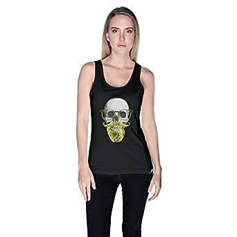 Creo Beard Skull Simon Tank Top For Women - S, Black