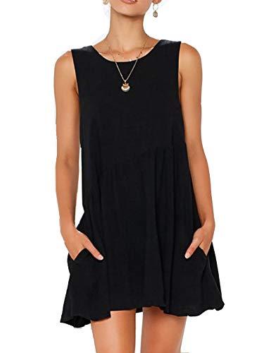 Backless Dress for Women Cute Sleeveless Short Fit Swing Tunic Dress(Black,L)