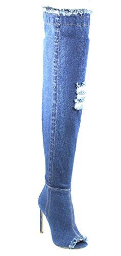 Ribbed Denim (Urban Heels Women's Dark Blue Jean Ribbed Stretchy Thigh High heel Pumps boots 9 US)