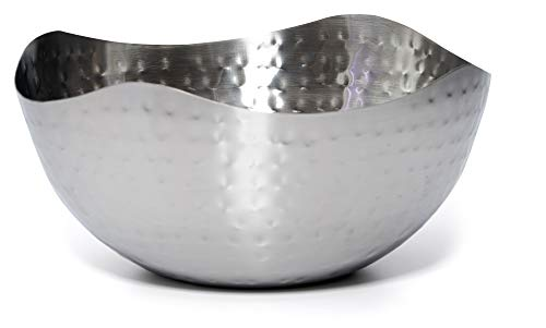 Bezrat Hammered Stainless Steel Serving Bowl -Multipurpose Decorative Metal Wave Bowl (11.8