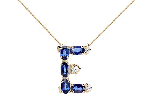 Albert Hern Blue Sapphire Necklace with Diamonds & 18K Gold Chain | Irresistible Sapphire Letter E Pendant Jewelry | Perfect Valentine's Day, Anniversary & Birthday Gift