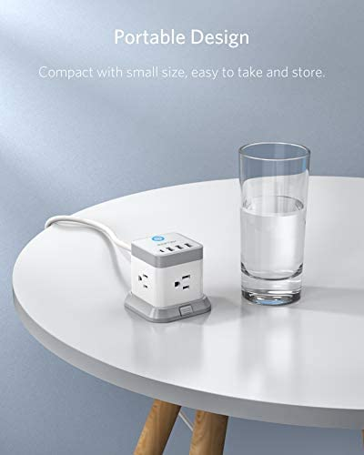 BESTEK Power Strip with USB Vertical Cube Mountable Power Outlet Extender with 3 Outlets 3 USB  1