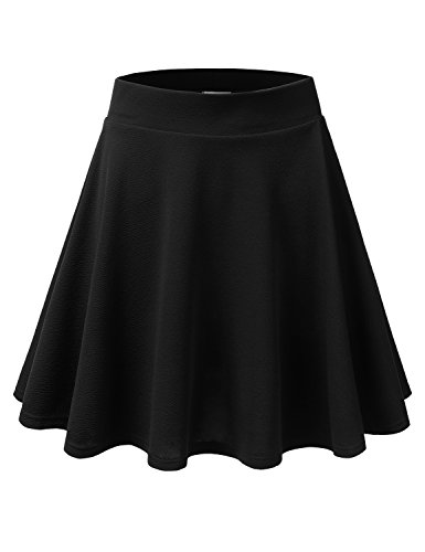 Doublju Stretchy Flare Mini Skater Skirts for Women with Plus Size